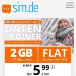 sim.de Allnet Flat mit 2GB für 5,99€ | ohne Laufzeit und ohne Anschlussgebühr