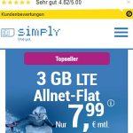 Simply 3GB LTE Allnet Flat für 7,99€ | ohne Laufzeit
