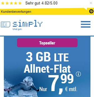 Simply 3GB LTE Allnet Flat für 7,99€   ohne Laufzeit