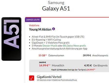 Vodafone Young M (GigaKombi) bis zu 15GB ab 19,99€ (5G Tarif) mit Handy ab 1€