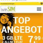 winSIM 4GB LTE Allnet Flat für 7,99€ | ohne Laufzeit