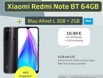 Blau Allnet L (bis zu 5GB LTE) ab 9,99€ mit Galaxy A20e für 49€ | Xiaomi Redmi Note 8T für 1€
