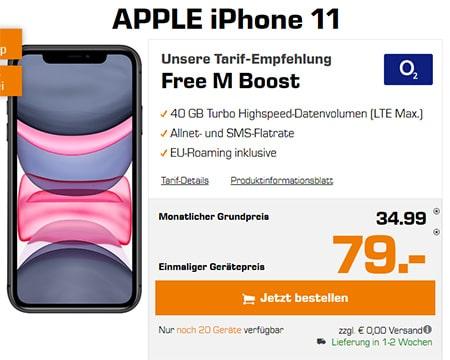 o2 Free M Boost (40 GB LTE) mit Apple iPhone Xs für 4,95€, OnePlus 7T für 4,95€, iPhone 11 ab 79€ uvm.