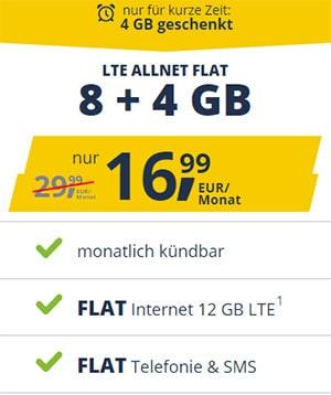 Freenet Mobile 12GB Vodafone LTE Flat für 16,99€   monatlich kündbar und ohne Anschlussgebühr