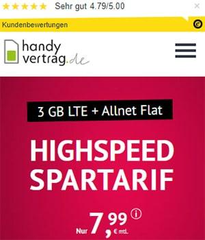 3GB LTE Allnet Flat für 7,99€ - Handyvertrag.de | ohne Laufzeit