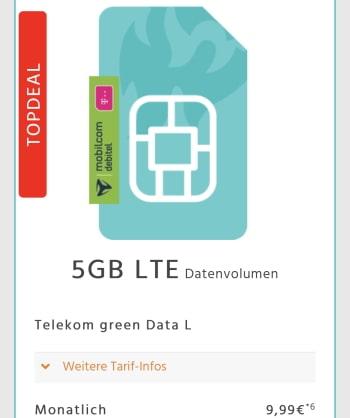 5GB Telekom LTE Internet Flat für 9,99€ pro Monat | mit Hardware oder 96€ Guthaben -> effektiv 5,99€