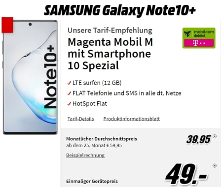 MD Telekom Magenta Mobil M (12GB LTE Flat) ab 39,95€ mit Galaxy Note 10 Plus für 49€