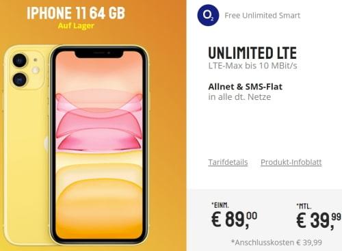 o2 Free Unlimited Smart (unbegrenztes Datenvolumen) ab 39,99€ mit iPhone 11 ab 89€, Galaxy S10, Huawei P30 Pro für 4,95€ uvm.