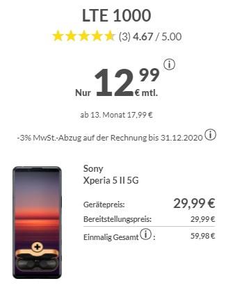 Sony Xperia 5 II + Sony WF-1000XM3 für 431,76€