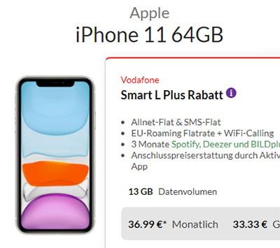 Vodafone Smart L Plus (bis zu 18GB) ab 36,99€ mit iPhone Xs für 4,95€ | iPhone 11 ab 33,33€ | Galaxy S20 ab 149€