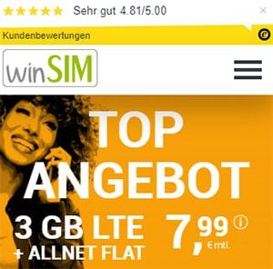 winSIM 3GB LTE Allnet Flat für 7,99€ | ohne Laufzeit