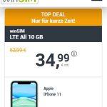 Apple iPhone 11 für 29,99€ mit 10GB winSIM LTE Allnet Flat für 34,99€