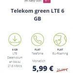 6 GB Telekom LTE Allnet Flat für 5,99€ | Mobilcom Debitel Green LTE