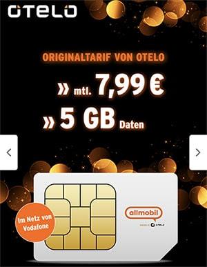 5GB Vodafone LTE Allnet Flat für 7,99€ mit 30€ Amazon Gutschein   Allmobil otelo