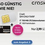 Crash Tarif: 750 MB Telekom LTE mit 100 Freiminuten für 2,99€ + 20€ Amazon Gutschein   für kurze Zeit