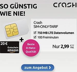 Crash Tarif: 750 MB Telekom LTE mit 100 Freiminuten für 2,99€ + 20€ Amazon Gutschein | für kurze Zeit