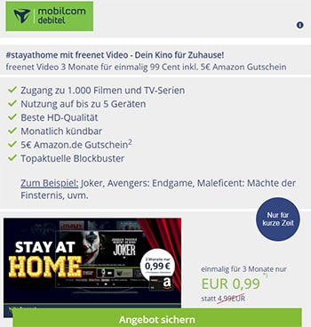 Freenet Video 3 Monate für 0,99€ mit 5€ Amazon Gutschein