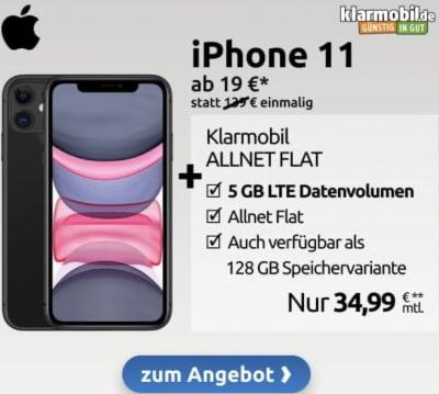 5GB Klarmobil Vodafone LTE Allnet ab 14,99€ mit Handy ab 4,95€ | TOP-Deal: Galaxy S20 für 29€ / iPhone 11 für 19€
