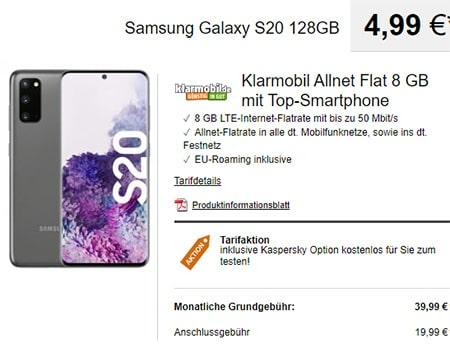 Klarmobil AllNet Flat Vodafone LTE (8GB) mit Apple iPhone 11 ab 4,99€ | Xiaomi Mi 9 ab 4,99€ | Galaxy S20 ab 4,99€