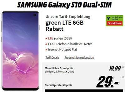 Galaxy S10 für 29€ mit MD Green Vodafone 6GB LTE Tarif für 19,99€