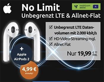 MD o2 Free Unlimited Basic (unbegrenztes Datenvolumen) für 19,99€ mit Apple AirPods 2 für 4,99€