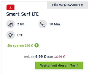 2GB Vodafone LTE Mobilcom Debitel Smart Surf für 6,99€ pro Monat
