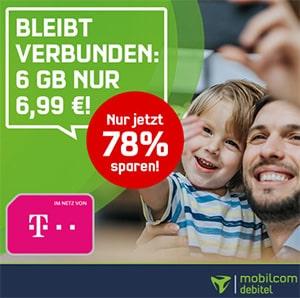 6GB Telekom LTE Allnet Flat für 6,99€ | Mobilcom Debitel Green LTE | Rufnummernmitnahme möglich!