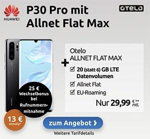 20GB LTE otelo Allnet-Flat Max für 29,99€ / Monat mit Huawei P30 Pro für 4,99€, iPhone SE (2020) ab 4,95€, Galaxy S10 für 79€ | Vodafone LTE