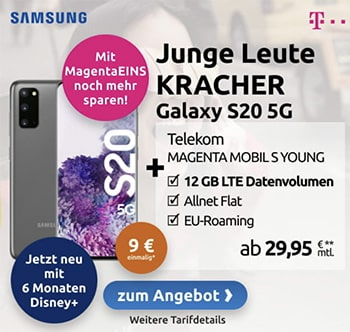 Telekom Magenta Mobil S (Young) ab 29,95€ mit Apple iPhone Xr, Galaxy S20 ab 9€, iPhone 11 ab 49€, Galaxy S20 ab 149€ | bis zu 12GB LTE