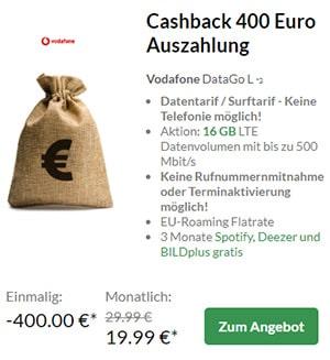 Vodafone DataGO M und L (bis zu 16GB LTE) mit bis zu 400€ Auszahlung
