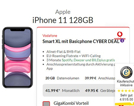 25GB LTE Vodafone Smart XL ab 41,99€ mit iPhone 11 ab 39,95€, iPhone Xs ab 4,95€, OnePlus 7T für 4,95€, Galaxy S20 ab 99€
