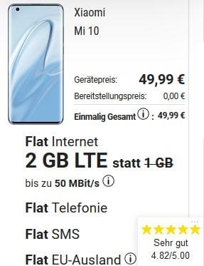 Xiaomi Mi 10 für 49€ mit 2GB o2 LTE Allnet Flat für 24,99€