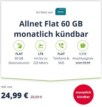 Mobilcom Debitel 60GB LTE o2 Allnet Flat Tarif für 24,99€ | ohne Laufzeit