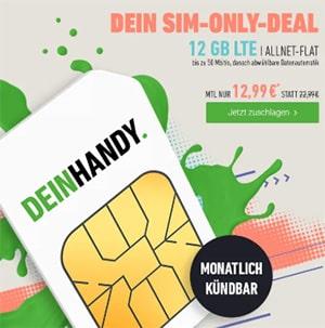 Deinhandy 12GB LTE o2 Allnet Flat für 12,99€ | ohne Laufzeit