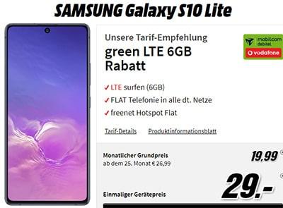 Galaxy S10 Lite für 29€ mit MD Green Vodafone 6GB Tarif für 19,99€