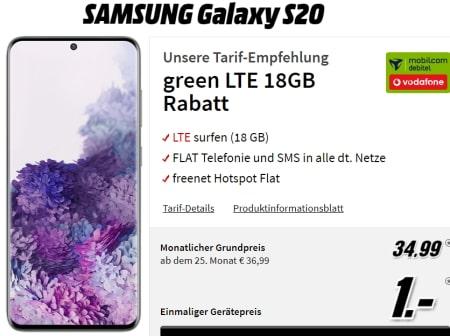 Galaxy S20 für 1€ mit MD Green Vodafone 18GB Tarif für 34,99€