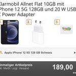 Klarmobil AllNet Flat Vodafone LTE (10) mit Google Pixel 5 für 19€ | Apple iPhone 12 (128GB) für 189€