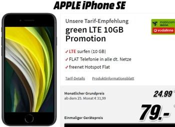 Apple iPhone SE 2020 für 79€ mit MD Green Vodafone 10GB LTE Tarif für 24,99€