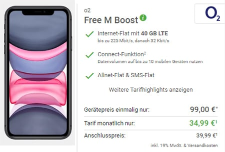 o2 Free M Boost (40 GB LTE) mit Apple iPhone Xs für 4,95€, OnePlus 7T für 4,95€, iPhone 11 ab 99€ uvm.