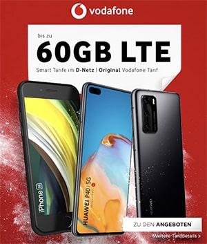 60GB LTE Vodafone Smart XL ab 56,99€ mit iPhone 11 (Pro), Galaxy S20 (Plus) 5G, OnePlus 8 ab 4,95€ uvm.