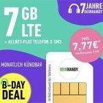 Deinhandy 7 GB LTE o2 Allnet Flat für 7,77€ | ohne Laufzeit