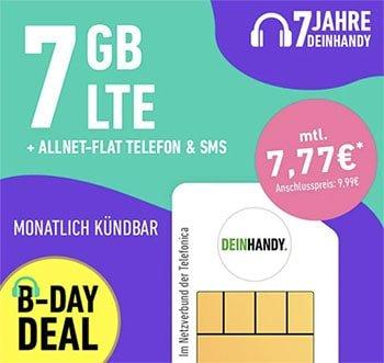 Deinhandy 7 GB LTE o2 Allnet Flat für 7,77€   ohne Laufzeit