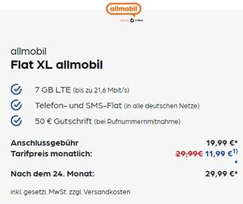7GB Vodafone LTE Allnet Flat für 11,99€ mit 25€ Amazon Gutschein | Allmobil otelo