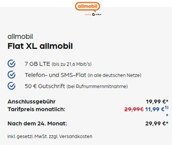 7GB Vodafone LTE Allnet Flat für 11,99€ | Allmobil otelo