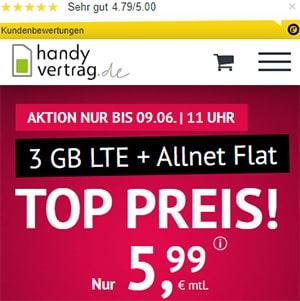 3GB LTE Allnet Flat für 5,99€ - Handyvertrag.de   ohne Laufzeit