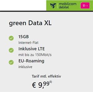 Mobilcom-Debitel Telekom Green Data XL 15GB LTE ab 9,99€