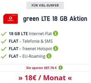 18GB Mobilcom Debitel Vodafone LTE Allnet Flat für 18€ / Monat
