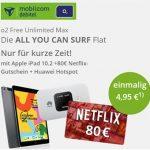 Mobilcom o2 Free Unlimited Max (unbegrenztes Datenvolumen) ab 34,99€ mit Sonos One, Apple AirPods Pro, Apple iPad + Netflix Gutschein ab 4,99€