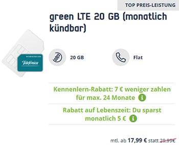 Mobilcom Debitel 20GB LTE o2 Allnet Flat für 17,99€ | ohne Laufzeit