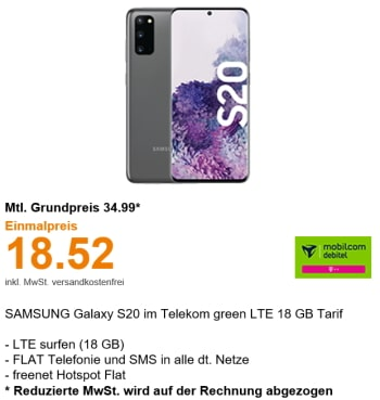 18GB Telekom LTE Allnet Flat ab 24,99€ mit Handy ab 4,95€ | Galaxy S20 für 18,52€, Galaxy S20 5G für 49€